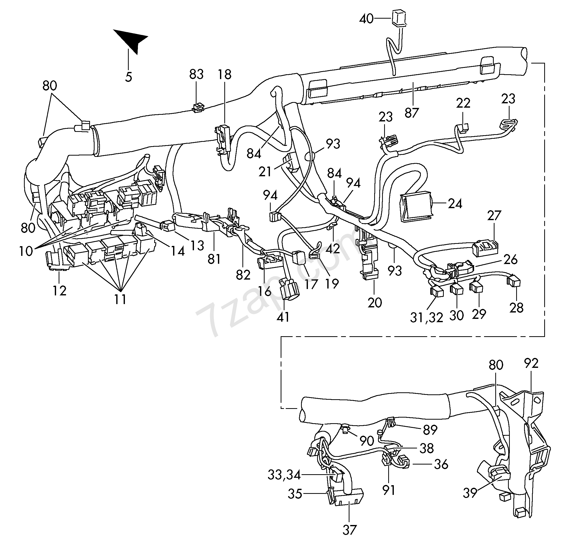 individual parts; area:; wiring set for dash panel - Octavia(OCT) [EUROPA  2012 year]