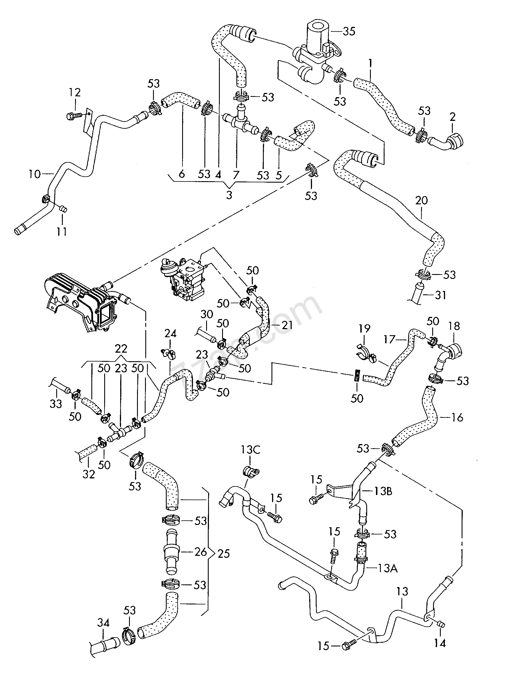 coolant cooling system  for vehicles with auxiliar